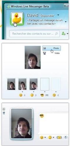 Essais avec le webcam pour associer l'image perso (photo/séquence) aux émoticons